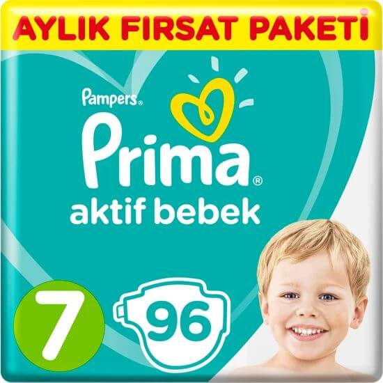 Prima Bebek Bezi Aktif Bebek 7 Beden 96 Adet XX Large Aylık Fırsat Paketi Fiyatı