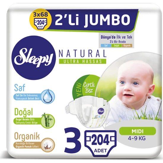 Sleepy Natural Bebek Bezi Ikili Jumbo 3 Numara 68X3 (204 Adet) Fiyatı