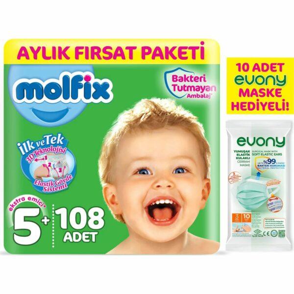 Molfix Bebek Bezi 5+ Beden Junior Plus Aylık Fırsat Paketi 108 Adet + Maske 10lu Hediye Fiyatı